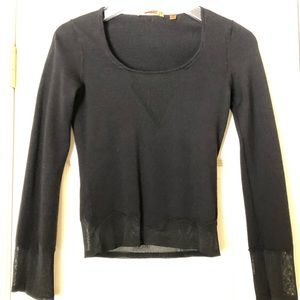 Wool sweater with sheer silk insets